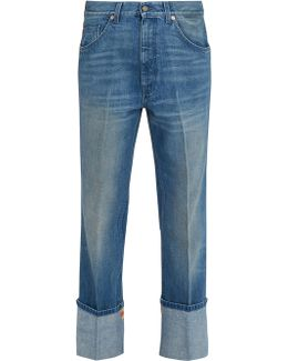 Web-trimmed Straight-leg Jeans