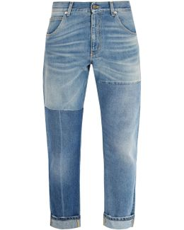 Patchwork Straight-leg Jeans
