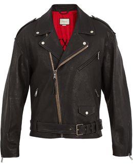 Dragon-appliqué Leather Jacket