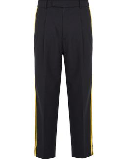 Wool Striped-panel Trousers