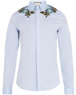 Floral-embroidered Cotton Shirt