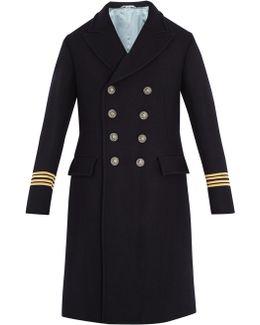 Fish-appliqué Wool Coat