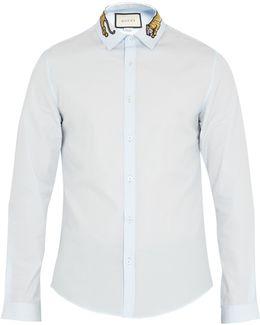 Duke Tiger-appliqué Point-collar Cotton Shirt