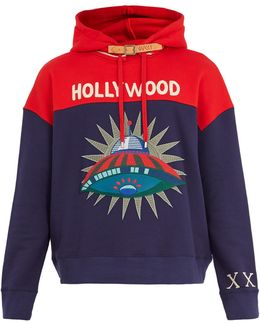 Hooded Spaceship-appliqué Cotton Sweatshirt