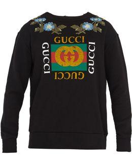 Logo-print Floral-embroidered Cotton Sweatshirt