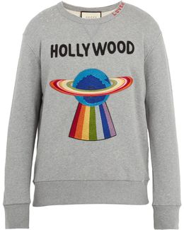 Spaceship-appliqué Distressed Cotton Sweatshirt