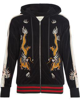 Dragon-embroidered Hooded Velvet Sweatshirt