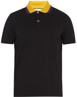 Angry Cat-appliqué Stretch-cotton Polo Shirt