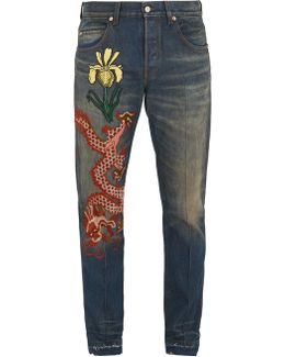 Dragon-embroidered Appliqué Jeans