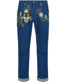Floral-embroidered Mid-rise Tapered-leg Jeans