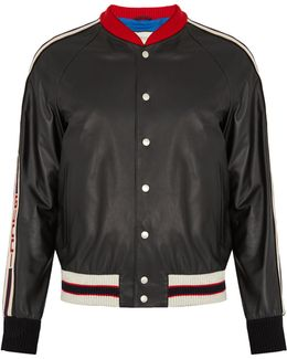 Hollywood-appliqué Leather Bomber Jacket