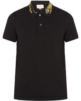 Tiger-appliqué Cotton-blend Piqué Polo Shirt