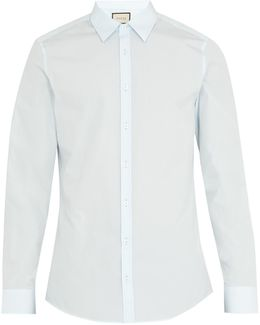 Embroidered Single-cuff Cotton Shirt