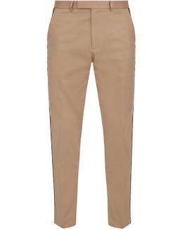 Slim-leg Web-trimmed Cotton Trousers