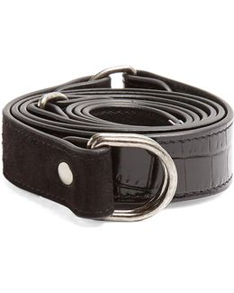 Contrast-panel Leather And Suede Waist Belt