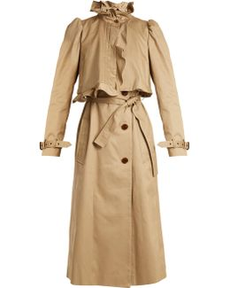 Janis Ruffled-neck Cotton Trench Coat