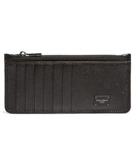 Zip-pocket Grained-leather Cardholder