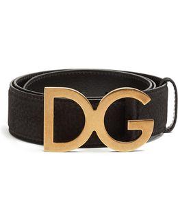 Dg-buckle Grained-leather Belt