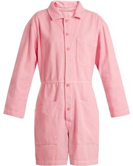 Spread-collar Wide-leg Cotton-denim Playsuit