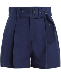 Pleated-front Cotton-blend Canvas Shorts