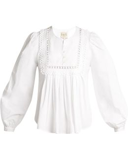 Everly Lace-trimmed Pleated Cotton Blouse