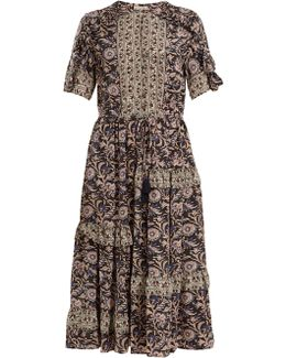 Maho Border Floral-print Silk Dress