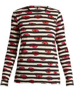 Pansy-print Long-sleeved Cotton T-shirt