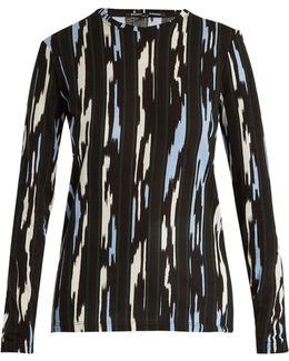 Ikat Stripe-print Long-sleeved Cotton T-shirt