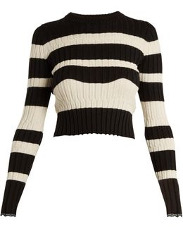 Striped Cropped Wool-blend Sweater