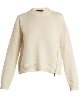 Asymmetric-zip Wool And Silk-blend Sweater