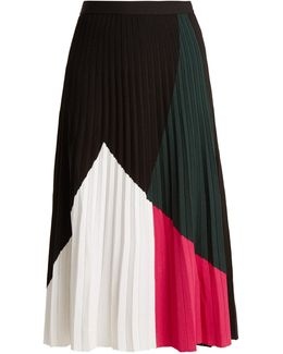 Pleated Crepe-jersey Skirt