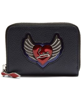 Panettone Heart-embellished Leather Coin Purse