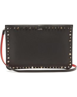 Loubi Stud-embellished Leather Clutch