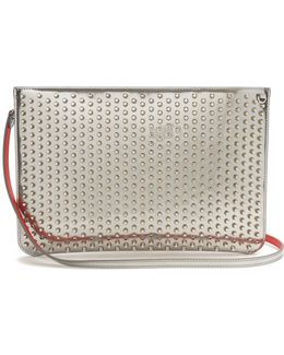 Loubi Spike-embellished Leather Clutch