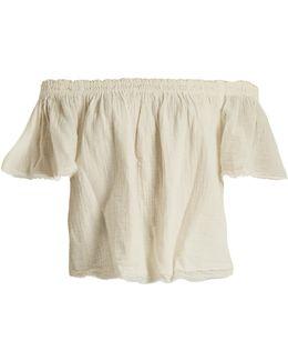 Begonia Off-the-shoulder Cotton-gauze Top