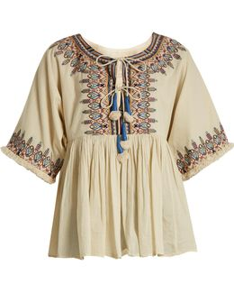 Dahlia Embroidered Cotton Top