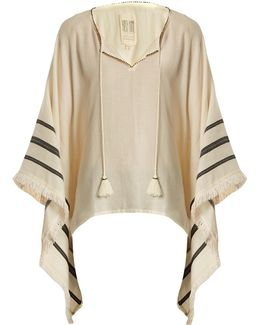 Petunia Embroidered Cotton Poncho Top