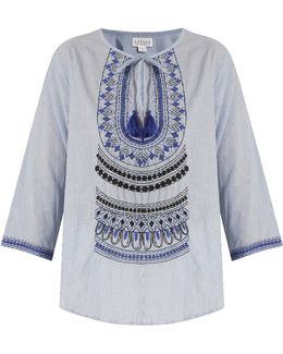 Mallory Embroidered Striped Cotton Top