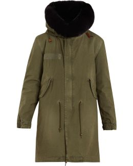 Fur-lined Hooded Cotton-canvas Parka
