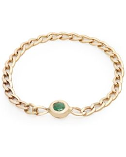 Emerald & Yellow-gold Chain Ring