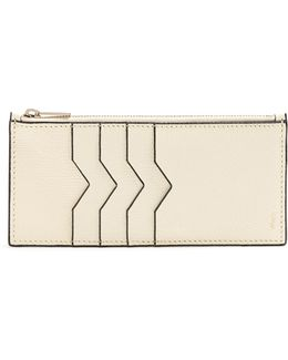 Contrast-edge Grained-leather Coin Purse