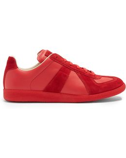 Replica Suede-panel Low-top Leather Trainers