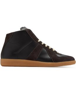 Replica Contrast-panel High-top Leather Trainers