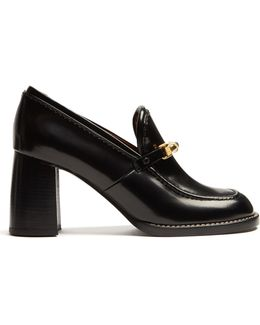 Block-heel Leather Loafers