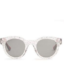 Glittered Round-frame Sunglasses
