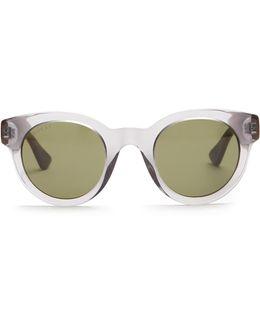 Round-frame Bi-colour Acetate Sunglasses