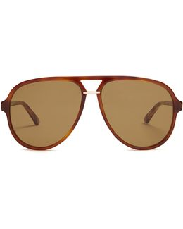 Tortoiseshell Aviator-frame Sunglasses