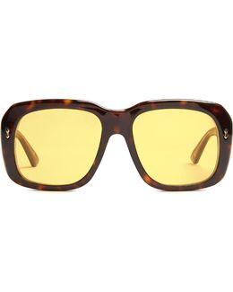 Square-frame Tortoiseshell Sunglasses