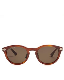 Round-frame Tortoiseshell Sunglasses