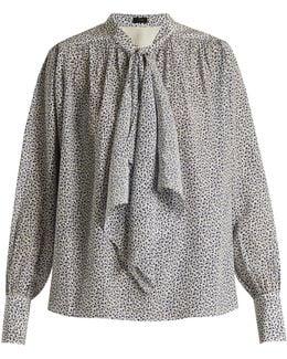 Cora Tie-neck Floral-print Silk Blouse